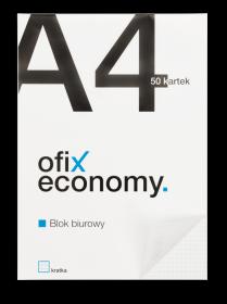 Blok biurowy w kratkę Ofix Economy, A4, 50 kartek