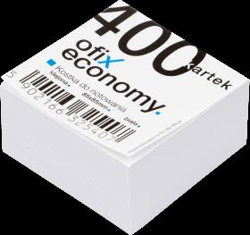 Kostka do notowania Ofix Economy, klejona, 85x85mm, 400 kartek, biały