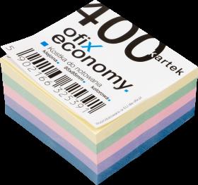 Kostka do notowania Ofix Economy, klejona, 85x85mm, 400 kartek, mix kolorów