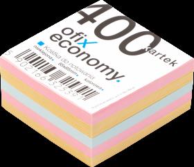Kostka do notowania Ofix Economy, nieklejona, 85x85 mm, 400 kartek, mix kolorów