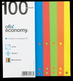 Przekładki kartonowe wąskie Ofix Economy, 1/3 A4, 100 kart, mix kolorów