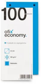 Przekładki kartonowe wąskie Ofix Economy, 1/3 A4, 100 kart, niebieski