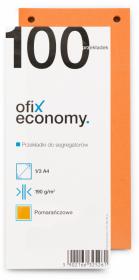 Przekładki kartonowe wąskie Ofix Economy, 1/3 A4, 100 kart, pomarańczowy