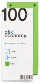 Przekładki kartonowe wąskie Ofix Economy, 1/3 A4, 100 kart, zielony