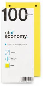 Przekładki kartonowe wąskie Ofix Economy, 1/3 A4, 100 kart, żółty