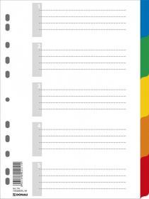 Przekładki plastikowe numeryczne z kolorowymi indeksami Donau, A4, 6 kart (5+1), mix kolorów