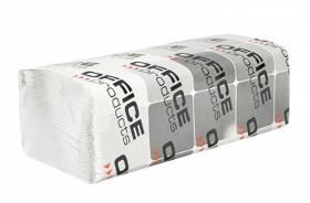 Ręcznik papierowy Office Products, jednowarstwowy, w składce ZZ, 20x200 składek, biały