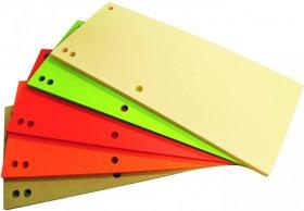 Przekładki kartonowe wąskie Office Products, 1/3 A4, 100 sztuk, mix kolorów