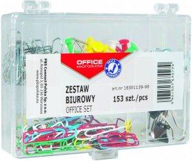 Zestaw biurowy Office Products, pinezki, klipy, spinacze, 153 elementy, mix kolorów