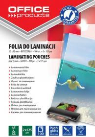 Folia do laminacji Office Products, 65x95mm, 2x125 µm, antystatyczna, 100 sztuk