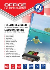 Folia do laminacji Office Products, 303x426mm, A3, 160 µm, antystatyczna, 100 sztuk