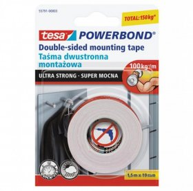 Taśma dwustronna tesa, Powerbond Ultra Strong, 19mm x 1.5m, transparentny