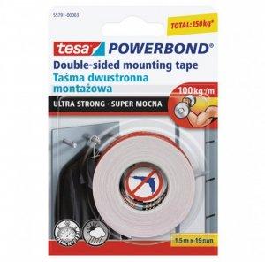 Taśma dwustronna tesa, Powerbond Ultra Strong, 19mm x 1.5m, biały