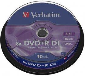 Płyty Verbatim DVD+R, do jednokrotnego zapisu, 8.5 GB, cake box, 10 sztuk