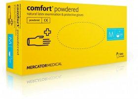 Rękawiczki jednorazowe Comfort, lateksowe, pudrowane, rozmiar M, 100 sztuk, biały (c)