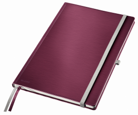 Notatnik w kratkę Leitz Style, A4, twarda oprawa, 80 kartek, ciemnoczerwony