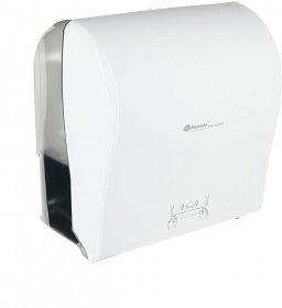 Dozownik do ręczników Merida Solid Cut, w roli, mechaniczny, front kolor biały, tył transparentny ciemny połysk