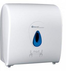 Dozownik do ręczników Merida Top, w roli, mechaniczny, front kolor biały, okienko kolor niebieski