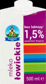 Mleko Łowickie UHT Łowicz, bez laktozy, 1.5%, 0.5l