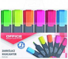 Zakreślacz Office Products, ścięta, 6 sztuk, mix kolorów
