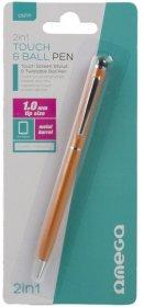 Długopis z rysikiem do smartfonów i tabletów Omega, 2in1, niebieski tusz, pomarańczowa obudowa