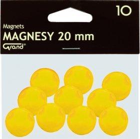 Magnesy Grand, 20mm, 10 sztuk, żółty