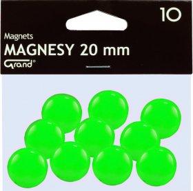 Magnesy Grand, 20mm, 10 sztuk, zielony