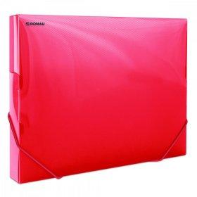 Teczka plastikowa z gumką poszerzana Donau, A4, 700µm, 300 kartek, czerwony