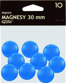 Magnesy Grand, 30mm, 10 sztuk, niebieski