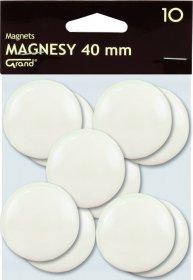 Magnes Grand, 40mm, 10 sztuk, biały