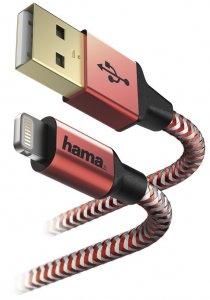 Kabel ładujący Hama Reflected Lightning, 1.5m, czerwony