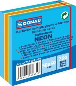 Notes samoprzylepny Donau, 50x50mm, 250 karteczek, neon-pastel, mix niebieski