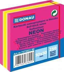 Notes samoprzylepny Donau, 50x50mm, 250 karteczek, neon-pastel, mix różowy