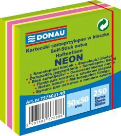 Notes samoprzylepny Donau, 50x50mm, 250 karteczek, neon-pastel, mix zielony