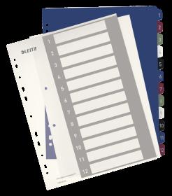 Przekładki plastikowe numeryczne Leitz Style, do nadruku tekstu na kartę, A4+, 1-12 przekładek