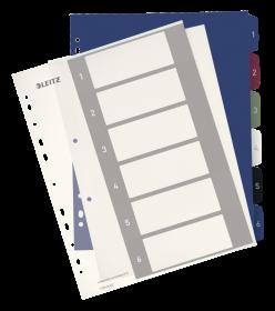 Przekładki plastikowe numeryczne Leitz Style, do nadruku tekstu na kartę, A4+, 1-6 przekładek