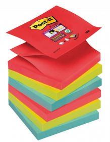 Notes samoprzylepny harmonijkowy Post-it Super Sticky Z-Notes, 76x76 mm, 6x90k, mix kolorów neonowych
