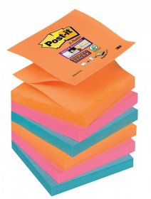 Notes samoprzylepny harmonijkowy Post-it Super Sticky Z-Notes, 76x76 mm, 6x90k, mix kolorów