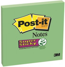 Notes samoprzylepny Post-it Super Sticky, 76x76 mm, 90 karteczek, zielony