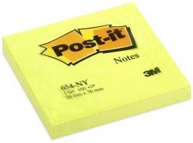 Notes samoprzylepny Post-it, 76x76mm, 100 karteczek, żółty neonowy