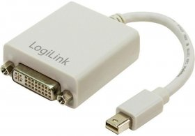 Adapter DisplayPort Mini do DVI LogiLink, kabel 9cm, biały