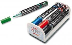 Marker suchościeralny Pentel, Maxiflo Flex-Feel MWL5SBF, 4mm, 4 sztuki + gąbka magnetyczna