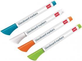 Marker suchościeralny odblaskowy Nobo, Neon, ścięta, 3mm, 4 sztuki, mix kolorów