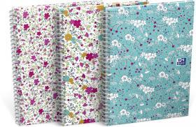 Blok biurowy w linie Oxford Floral, A6, 80 kartek, mix wzorów