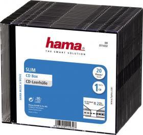 Pudełko na płyty CD/DVD Hama Slim, 20 sztuk, czarny