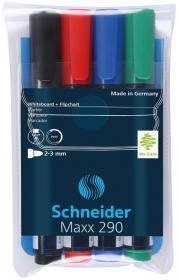 Zestaw markerów do tablic Schneider, Maxx 290, okrągła, 2-3 mm, 4 sztuki, mix kolorów