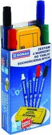 Zestaw markerów suchościeralnych Donau D-Signer B, okrągła, 4 sztuki + gąbka, mix kolorów