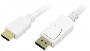 Kabel DisplayPort do HDMI LogiLink, 2m, biały