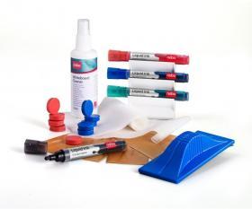 Zestaw wydajny do tablic Nobo, 4 markery, środek czysz. w sprayu, 10 chusteczek, gąbka magnet., 10 magnesów
