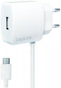 Ładowarka sieciowa LogiLink, z kablem micro USB i portem USB, biały